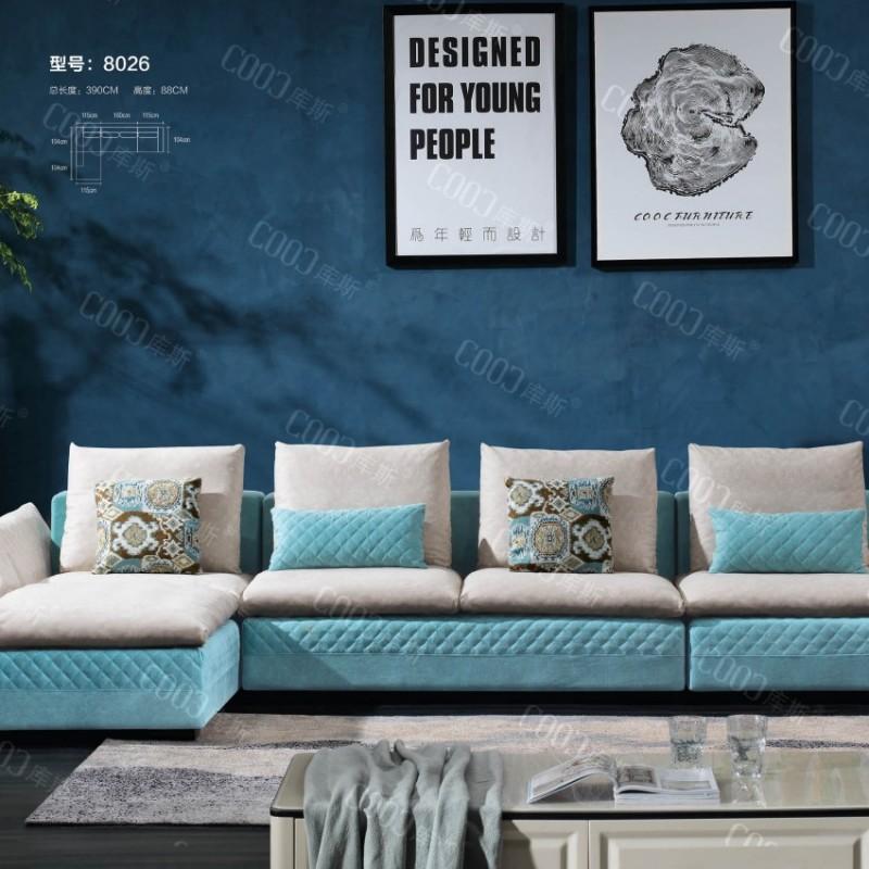 时尚高档客厅布艺沙发 简约布艺沙发茶几电视柜组合_8026