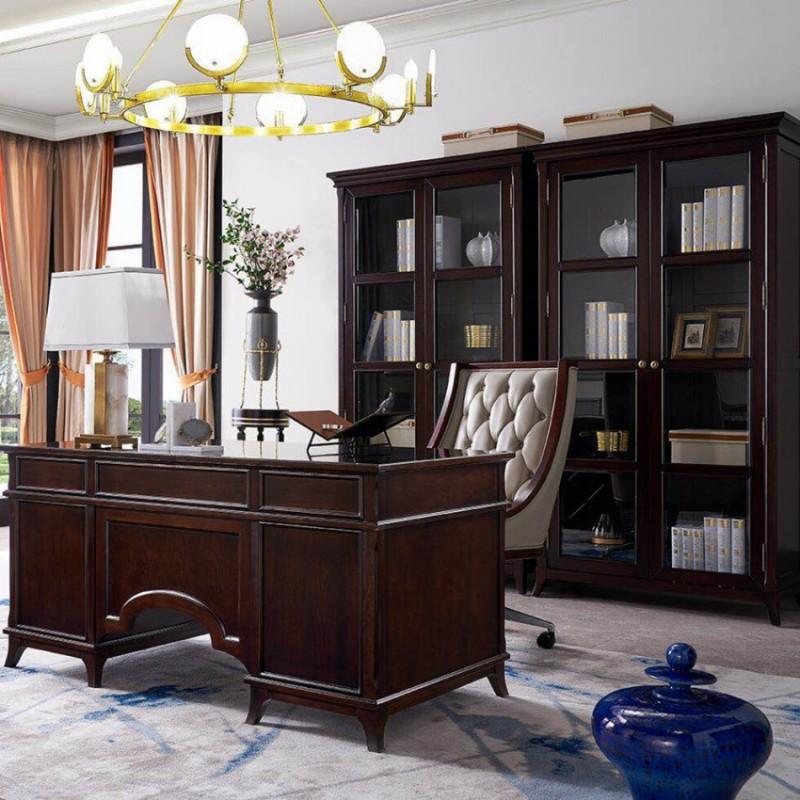 美高美轻奢时尚书房套  书桌书椅书柜轻奢风格-22