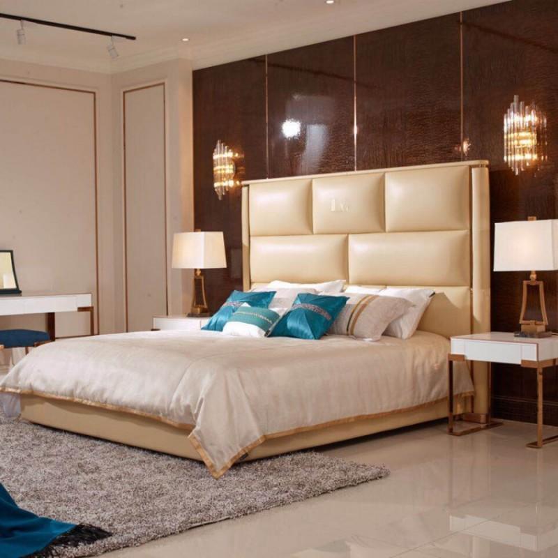 英迪格轻奢时尚卧室大床卧房套 简约时尚轻奢卧室床-13