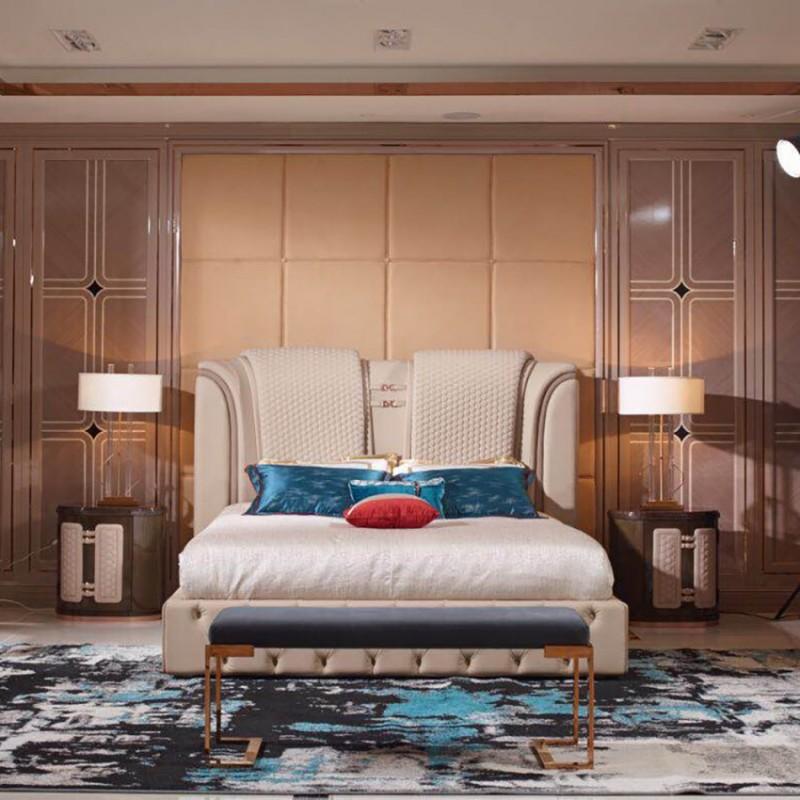 英迪格轻奢时尚卧室大床卧房套 简约时尚轻奢卧室床-14