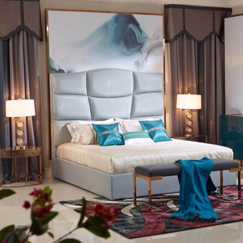 英迪格轻奢时尚卧室大床卧房套 简约时尚轻奢卧室床-17