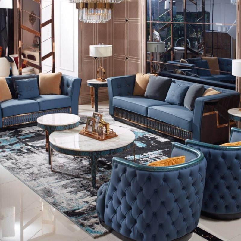 英迪格时尚轻奢风客厅沙发茶几 客厅沙发套轻奢风格-5