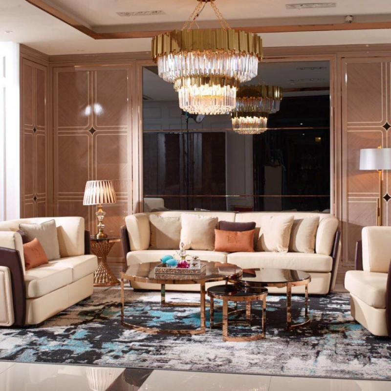 英迪格时尚轻奢风客厅沙发茶几 客厅沙发套轻奢风格-6