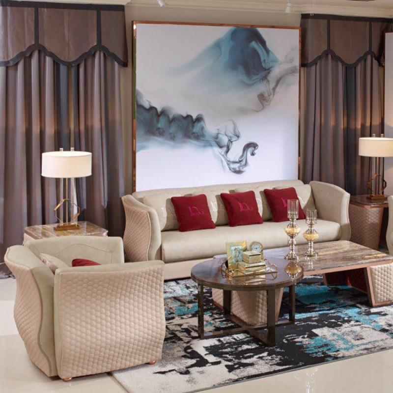 英迪格时尚轻奢风客厅沙发茶几 客厅沙发套轻奢风格-20