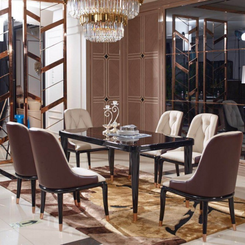 英迪格轻奢餐桌餐椅套 时尚轻奢餐厅家具-9