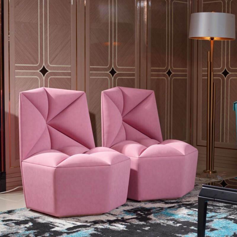 英迪格轻奢客厅家具休闲椅  时尚轻奢粉色休闲椅套-15