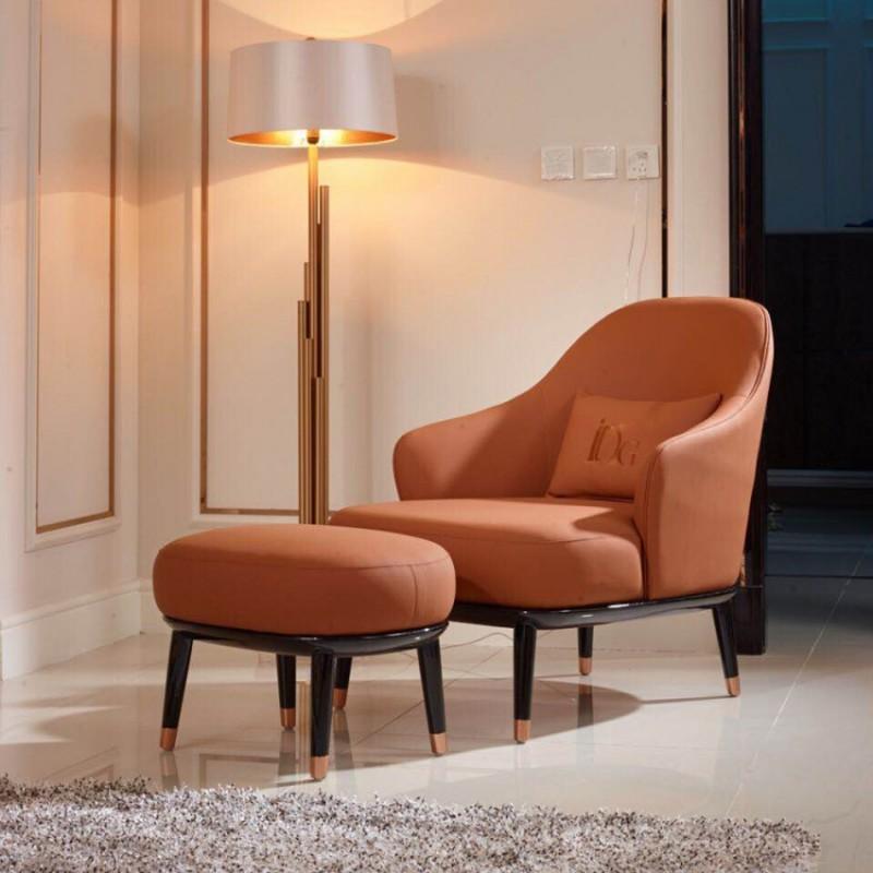 英迪格轻奢客厅家具休闲椅带脚踏  时尚轻奢橘棕色休闲椅套-16