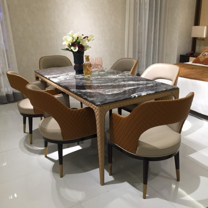 安邸轻奢餐桌餐椅套 时尚轻奢餐厅家具-Z525
