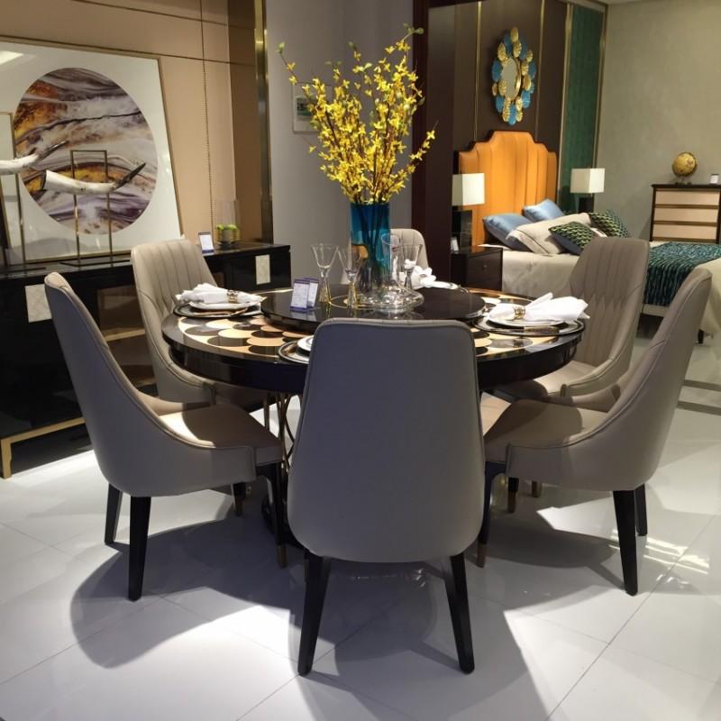 安邸轻奢餐厅餐桌餐椅套圆餐台 时尚轻奢餐桌餐椅-Z501
