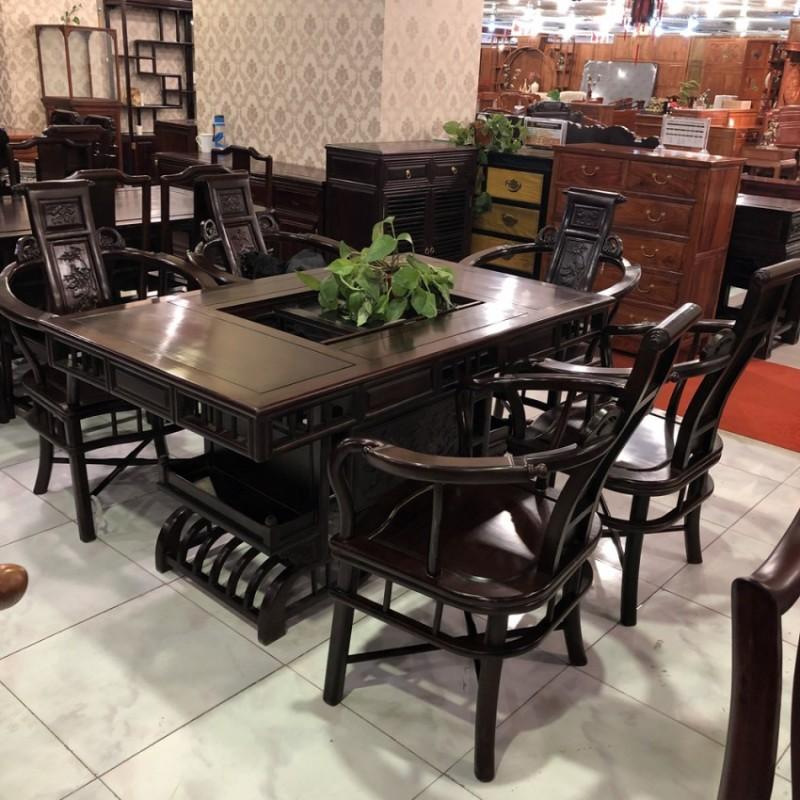 红木家具红酸枝木类新中式餐桌椅CZY-01