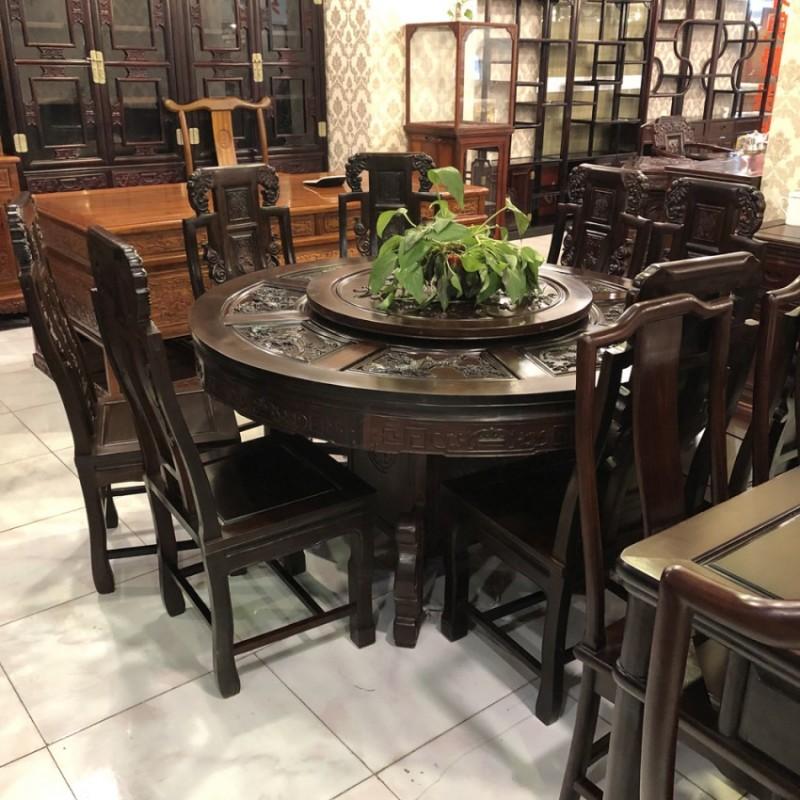红木家具红酸枝木类古典雕花餐桌椅CZY-02