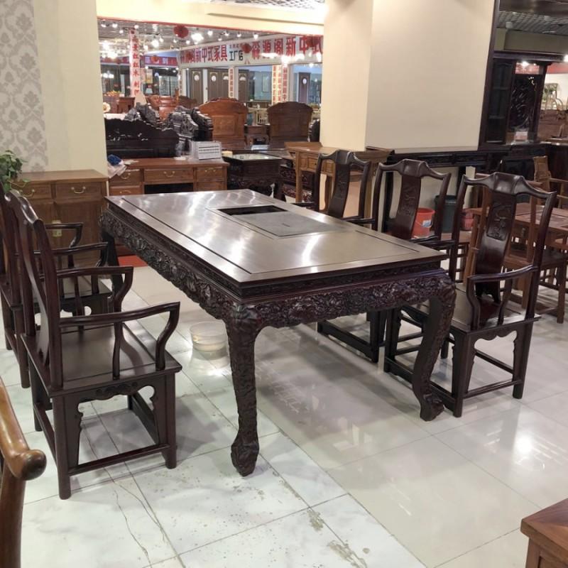 新中式长方形红酸枝餐桌椅CZY-04