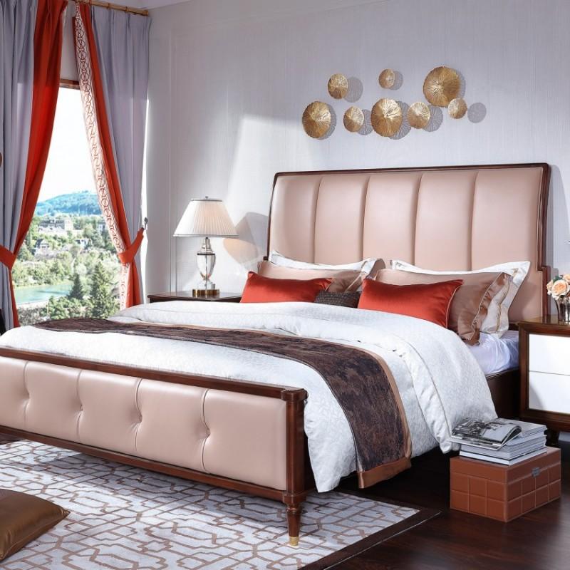 圣托美简约美式双人床 法式实木双人床 美式真皮结婚双人床_7