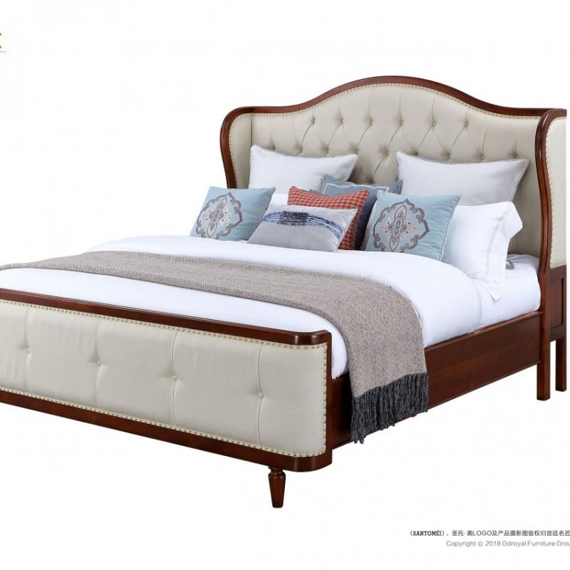 圣托美简约美式双人床 法式实木双人床 美式真皮结婚双人床_8