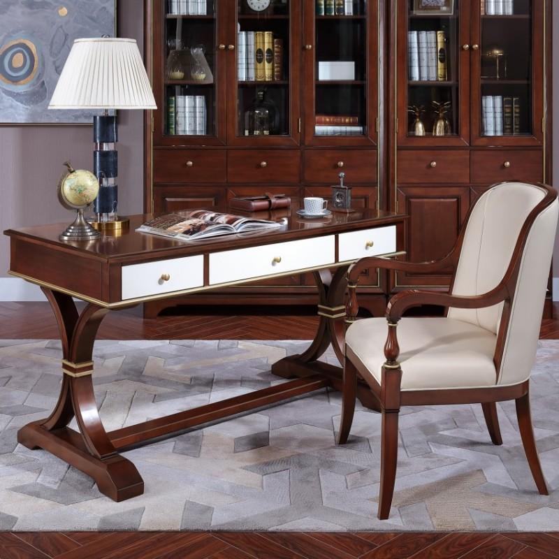 圣托美简约美式书桌书椅  轻奢风格书房套书桌书椅_18