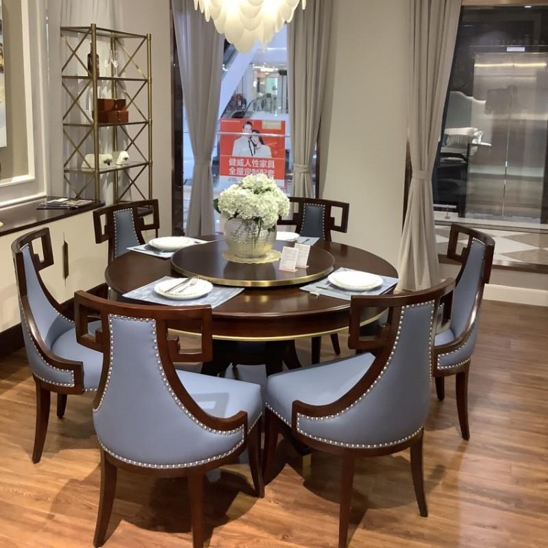 简约美式圆餐桌 真皮餐椅 实木圆餐桌 法式圆餐桌_601+608餐椅