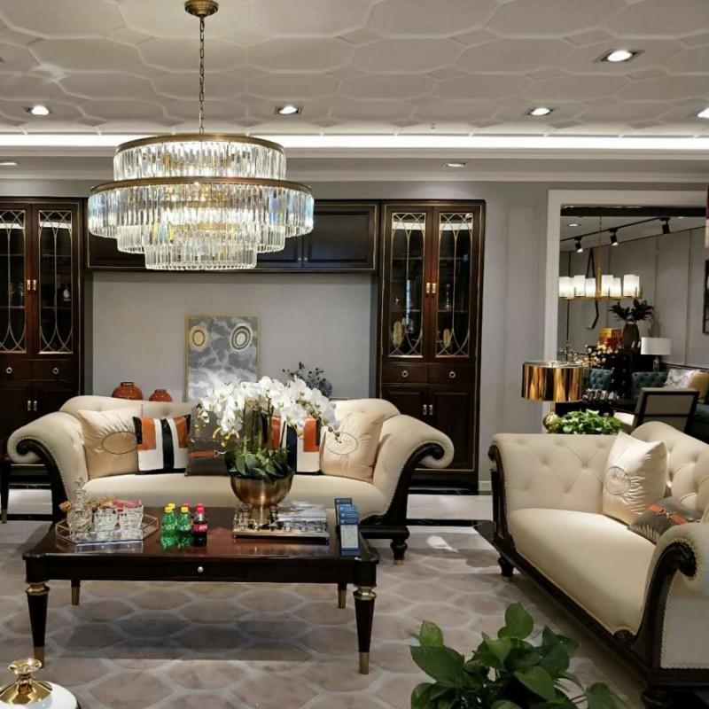 别墅大客厅沙发组合 美式真皮沙发 简约个性茶几 轻奢时尚沙发组合_604