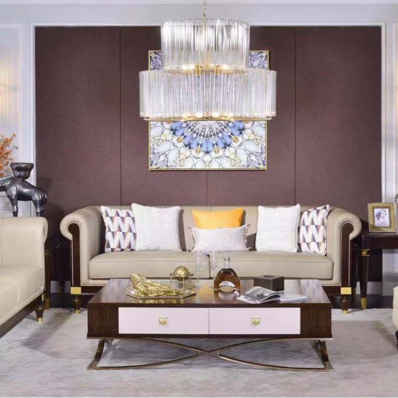 别墅大客厅沙发组合 美式真皮沙发 简约个性茶几 轻奢时尚沙发组合_610