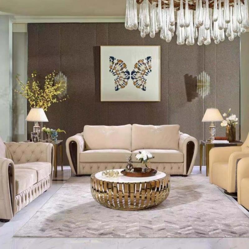 别墅大客厅沙发组合 美式真皮沙发 简约个性茶几 轻奢时尚沙发组合_608A
