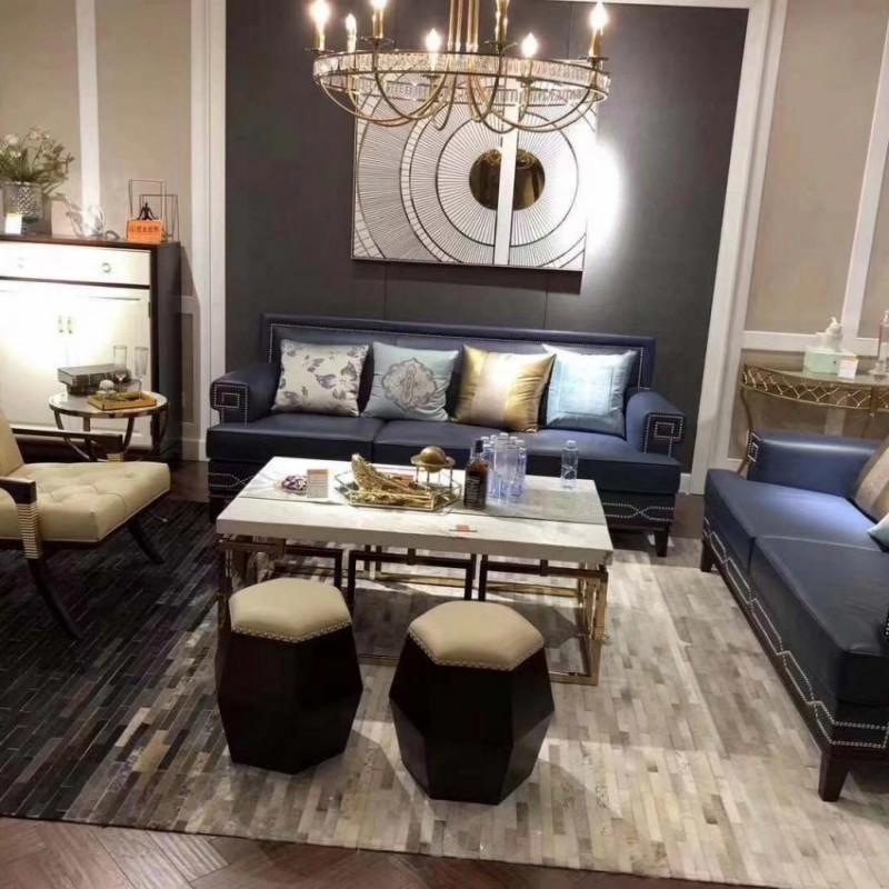 圣托美别墅大客厅沙发组合 美式真皮沙发 简约个性茶几 轻奢时尚沙发组合_608