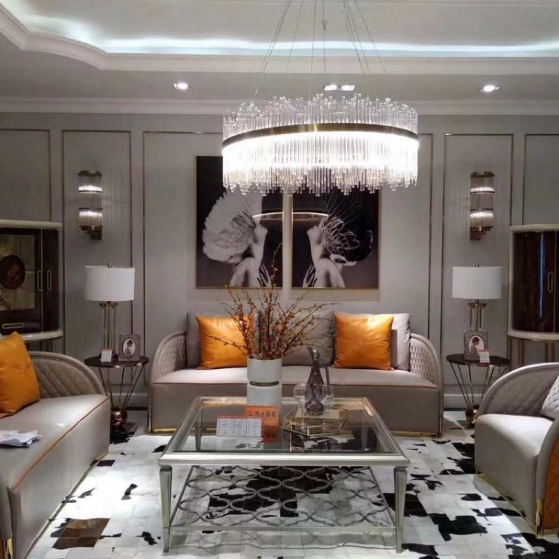 圣托美别墅大客厅沙发组合 美式真皮沙发 简约个性茶几 轻奢时尚沙发组合_668D