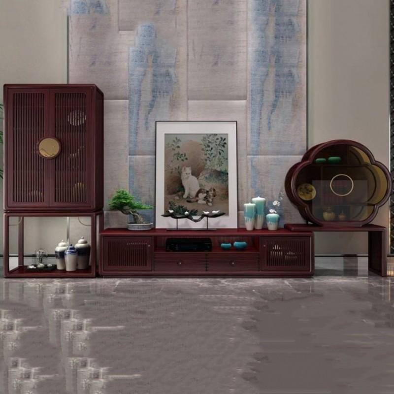 喜之林东阅客厅实木电视柜组合柜 新中式家具电视柜地柜组合柜1