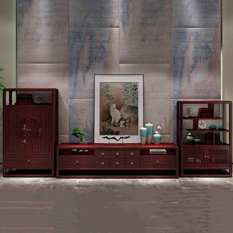 喜之林东阅客厅实木电视柜组合柜 新中式家具电视柜地柜组合柜3
