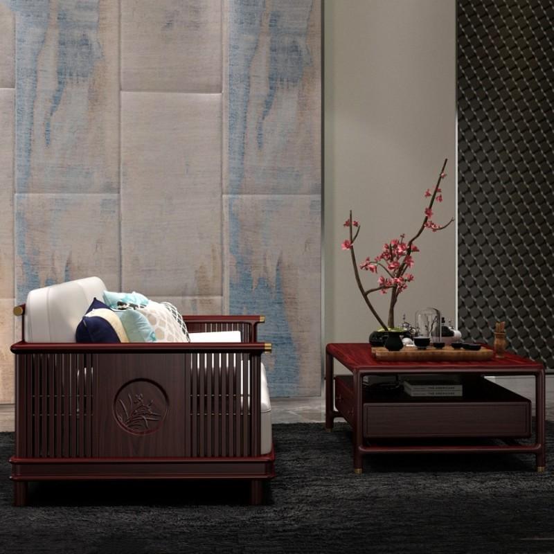 喜之林东阅客厅实木沙发 新中式家具沙发实木家具5