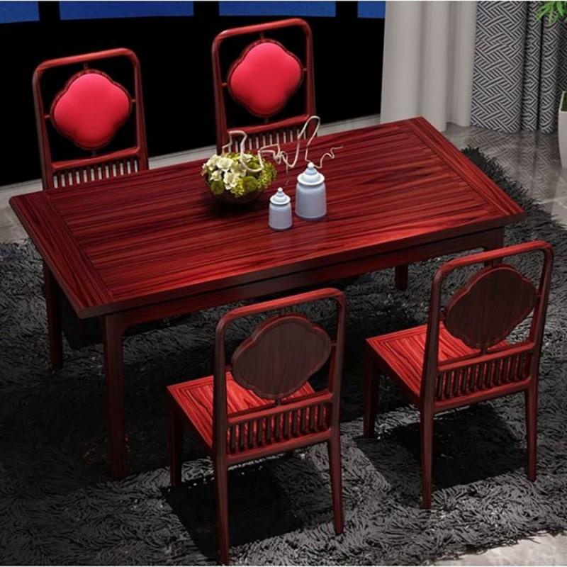 喜之林东阅餐厅家具餐桌餐椅 新中式实木餐桌餐椅套1