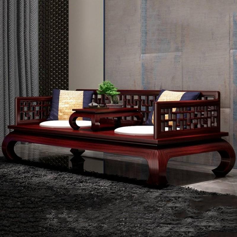 喜之林东阅客厅家具罗汉床 新中式实木罗汉床