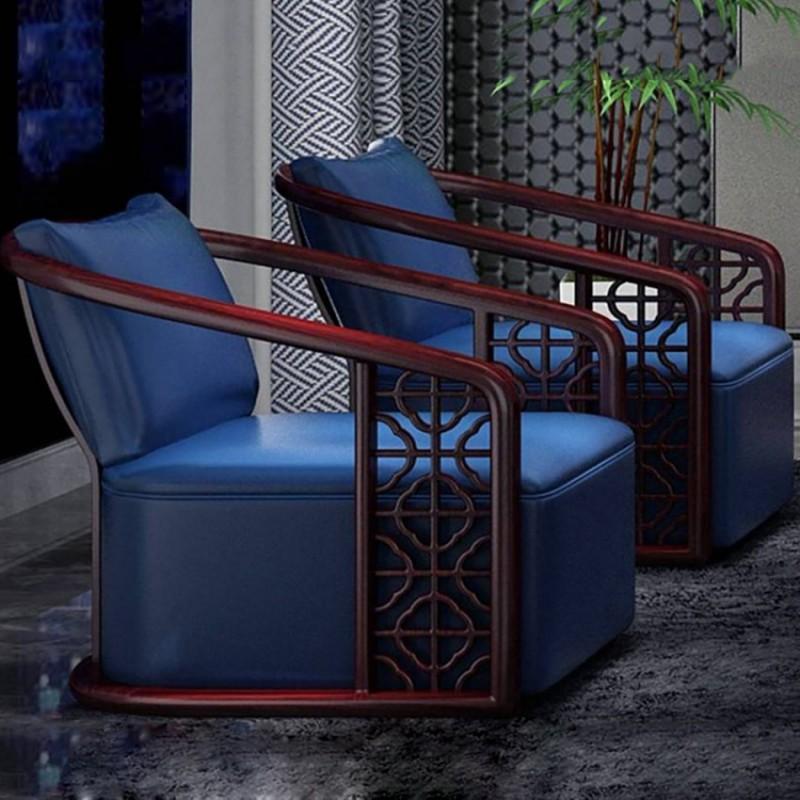 喜之林东阅客厅家具休闲椅 新中式实木休闲椅1