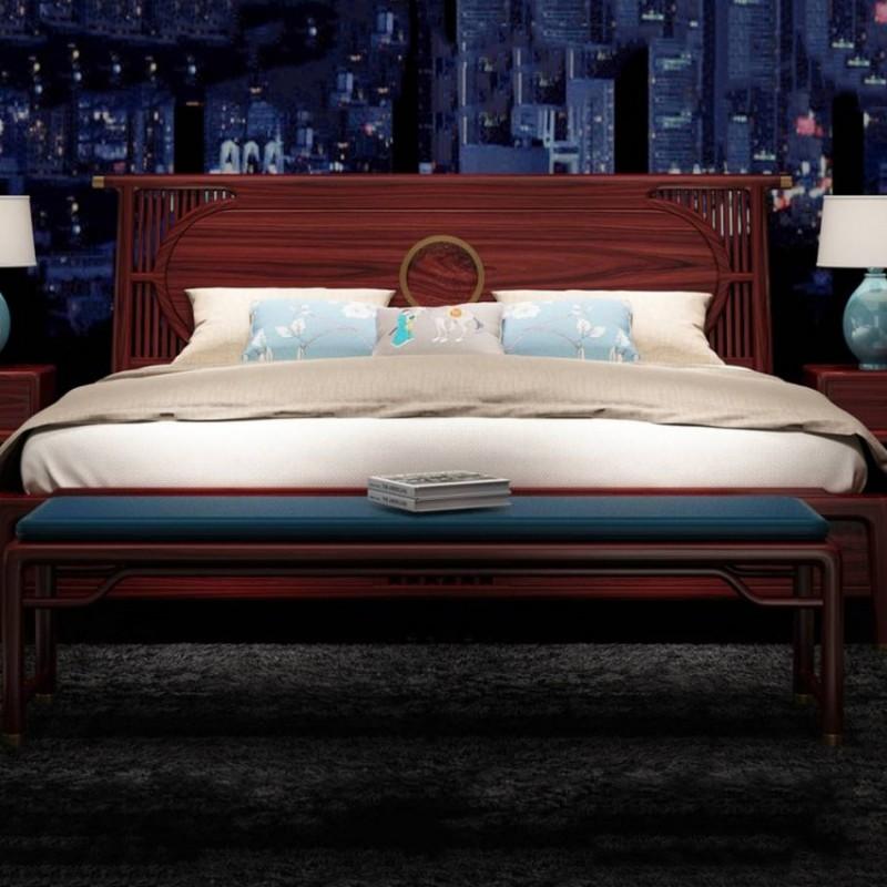 喜之林东阅卧房家具实木大床 新中式实木大床1