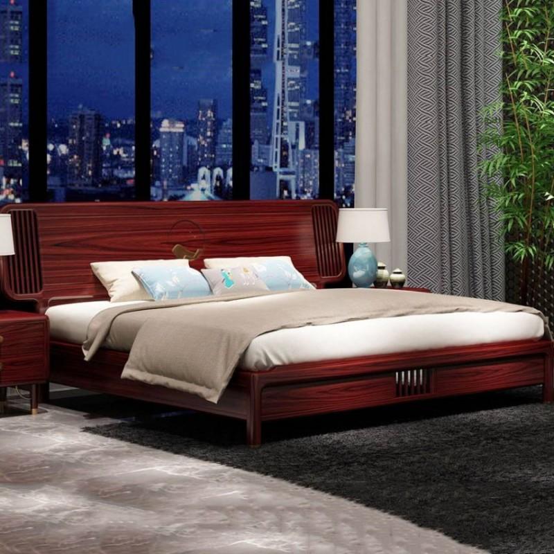 喜之林东阅卧房家具实木大床 新中式实木大床4