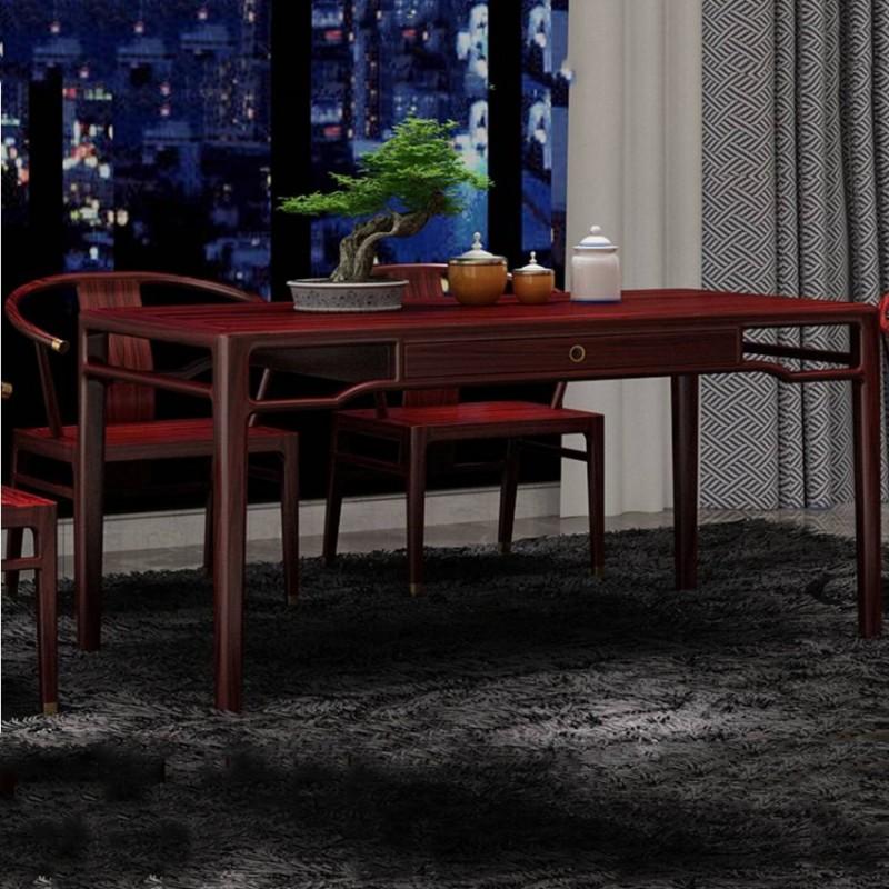 喜之林东阅新中式实木家具餐桌椅茶桌茶椅1