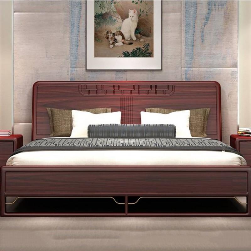 喜之林东阅卧房家具实木大床床尾凳 新中式实木大床床尾凳6