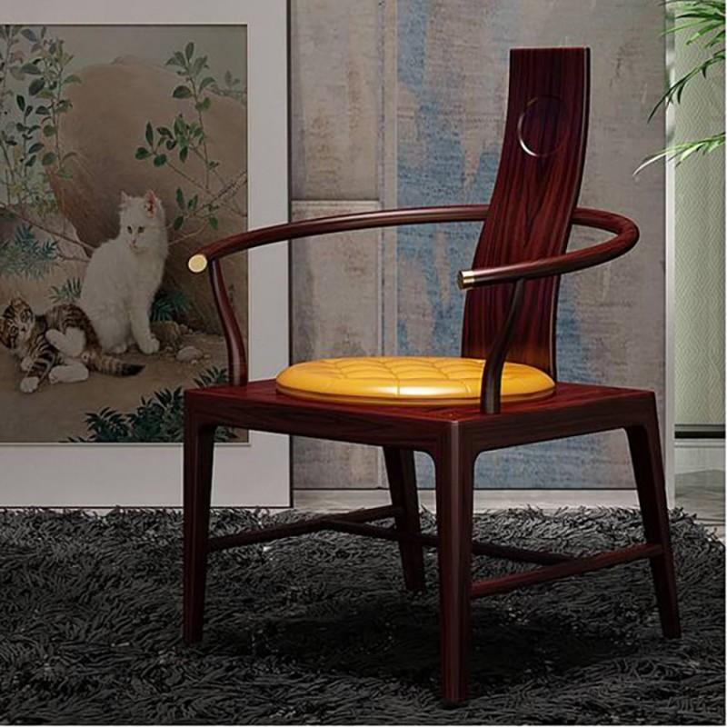 喜之林东阅新中式实木客厅休闲椅圈椅  实木休闲椅