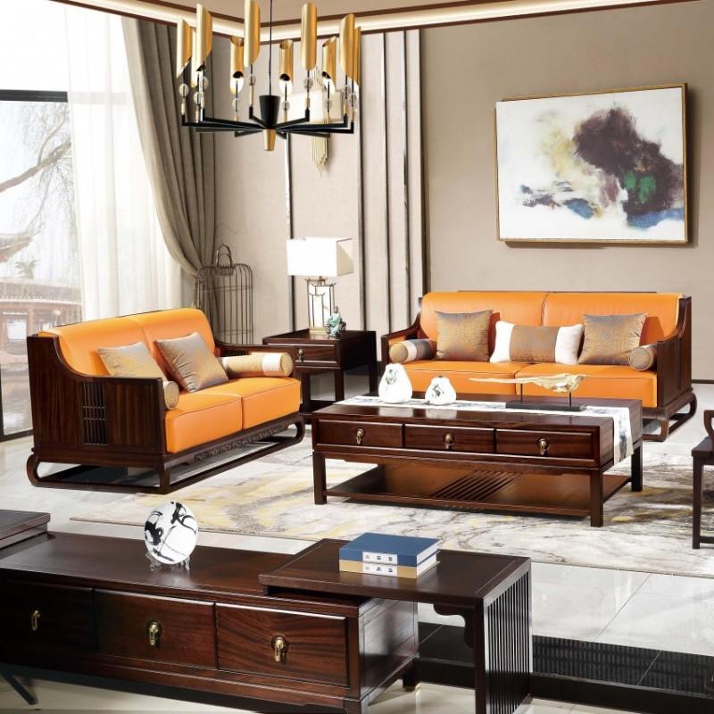 居兴闻檀客厅家具沙发套装 新中式实木沙发套茶几角几休闲椅圈椅1