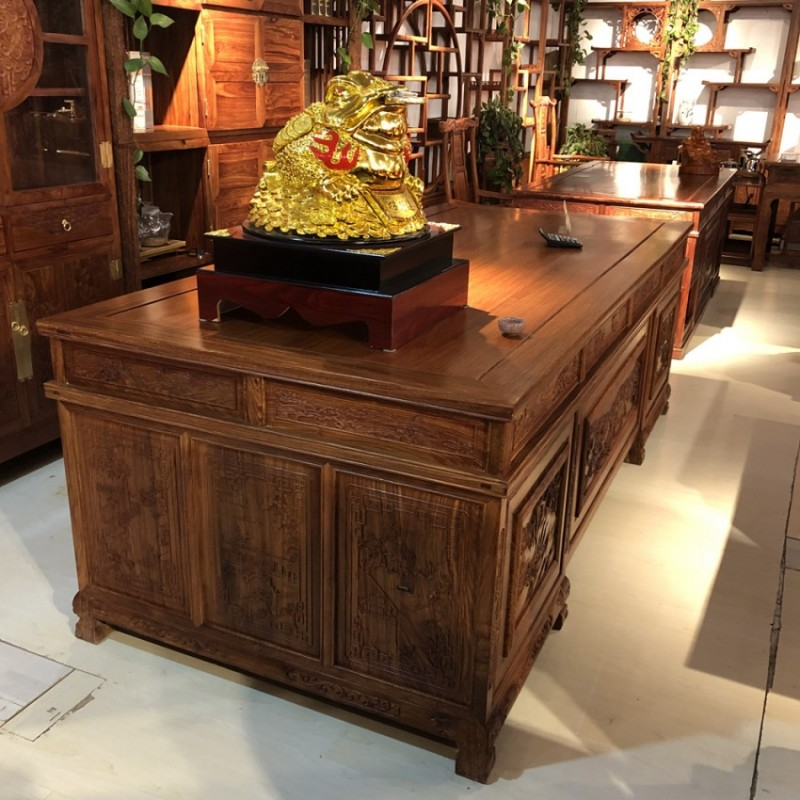 全实木书桌大班台中式书房家具ZT-2