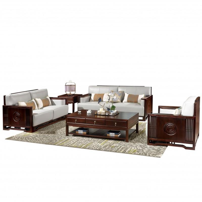 居兴闻檀客厅家具沙发套装 新中式实木沙发套茶几角几休闲椅圈椅3