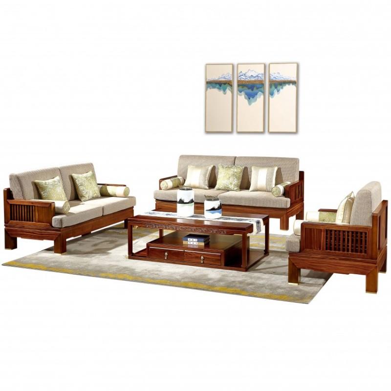 居兴闻檀客厅家具沙发套装 新中式实木沙发套茶几角几休闲椅圈椅4