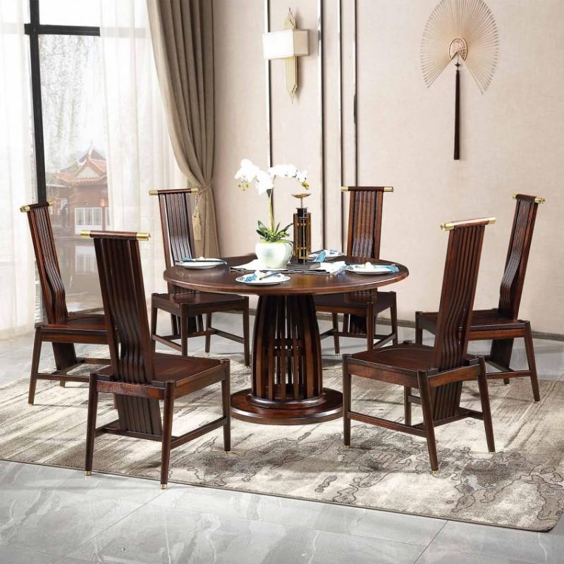 居兴闻檀餐厅餐桌餐椅套装 新中式实木餐桌餐椅1
