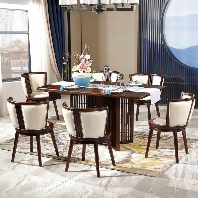 居兴闻檀餐厅餐桌餐椅套装 新中式实木餐桌餐椅2