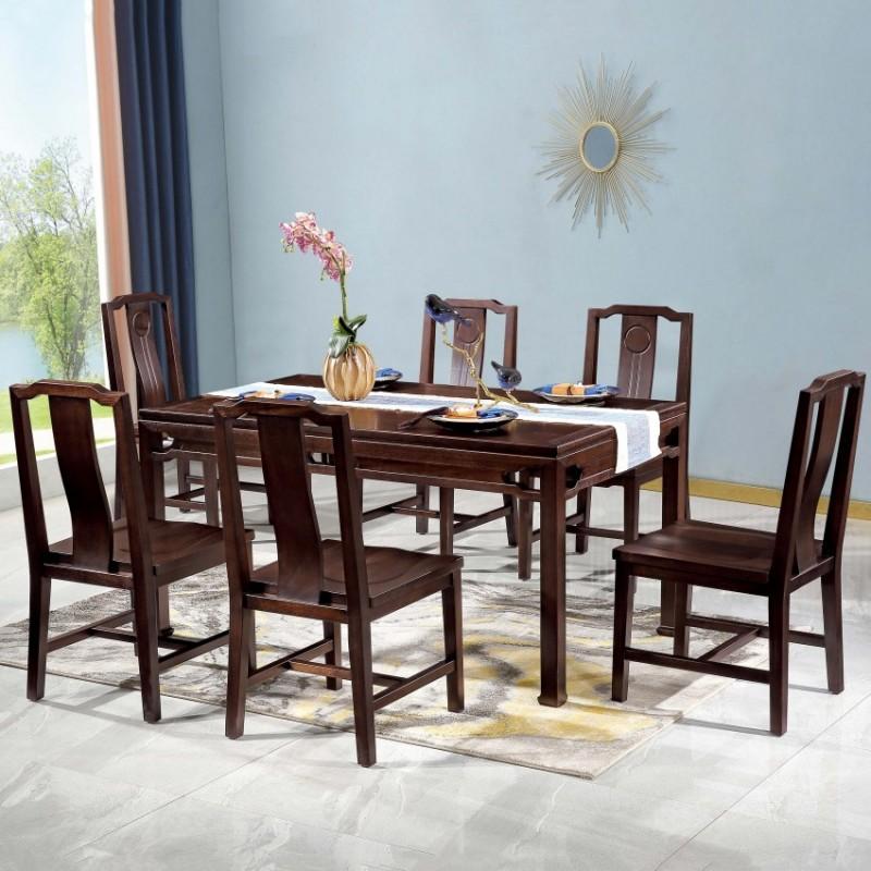 居兴闻檀餐厅餐桌餐椅套装 新中式实木餐桌餐椅4