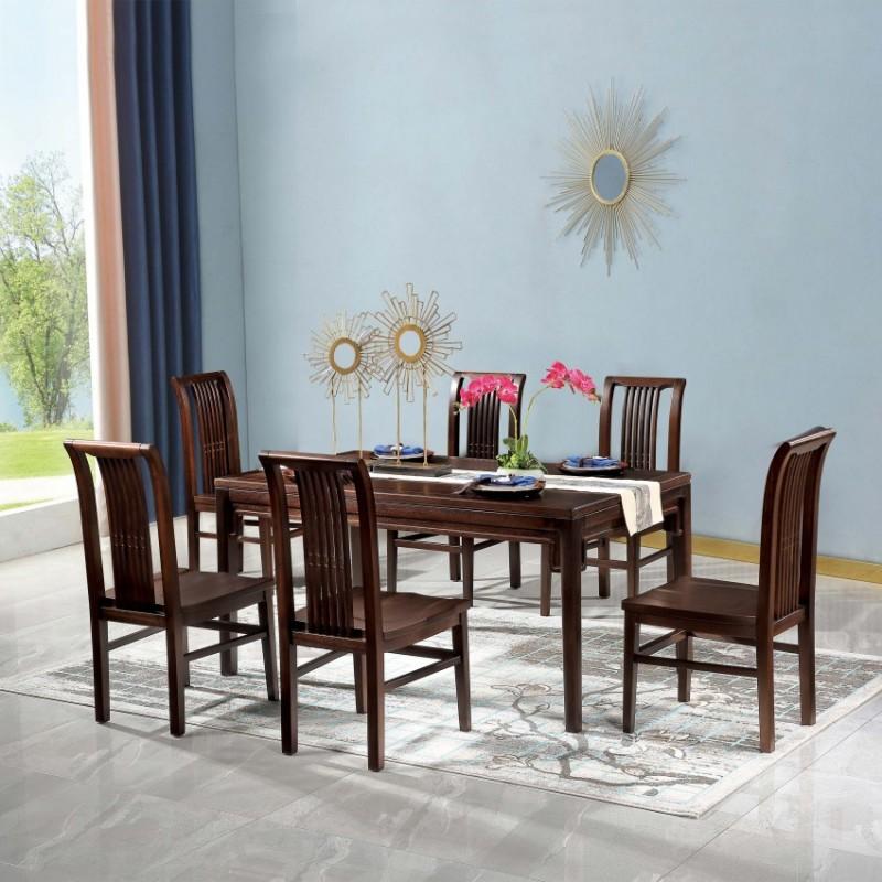 居兴闻檀餐厅餐桌餐椅套装 新中式实木餐桌餐椅5
