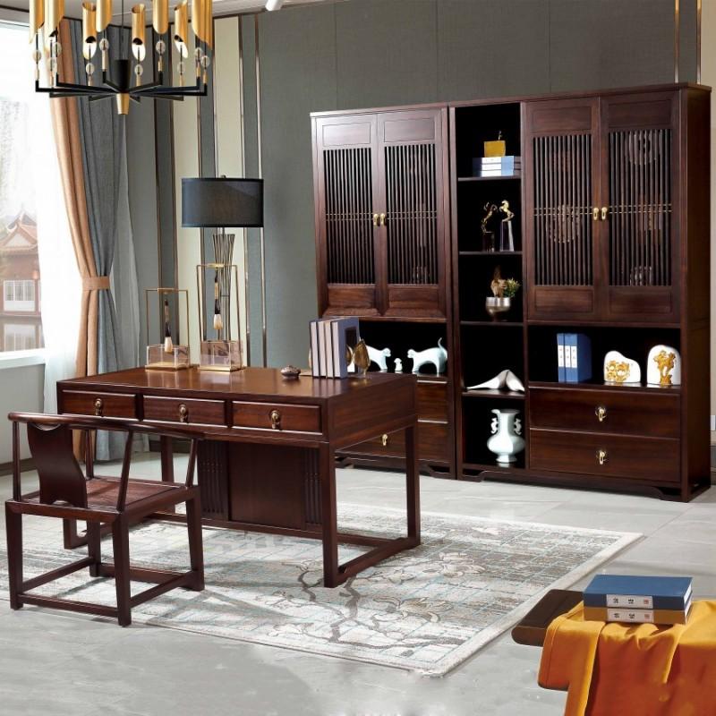居兴闻檀书房实木家具套装 新中式实木书桌书椅书柜书架展示柜1