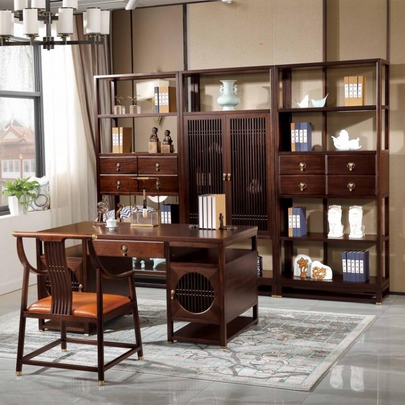 居兴闻檀书房实木家具套装 新中式实木书桌书椅书柜书架展示柜2
