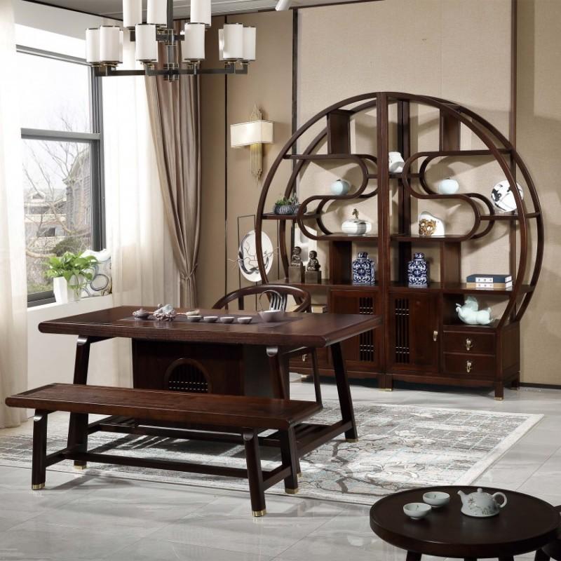 居兴闻檀实木家具套装茶桌茶椅 博古架 新中式实木茶桌茶椅博古架展示柜1