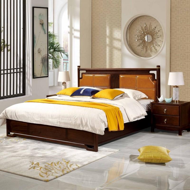 居兴闻檀实木家具大床床头柜卧房套衣柜衣橱  新中式实木卧房套