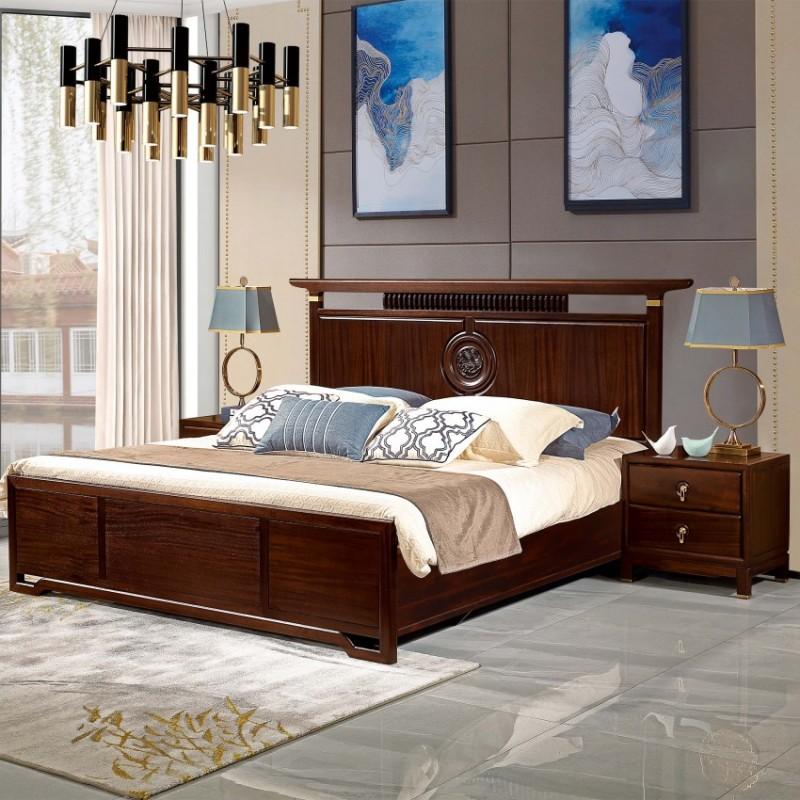 居兴闻檀实木家具大床床头柜卧房套衣柜衣橱  新中式实木卧房套3