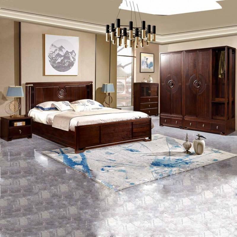居兴闻檀实木家具大床床头柜卧房套衣柜衣橱  新中式实木卧房套4